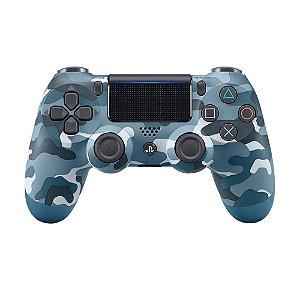 Controle Sony Dualshock 4 Blue Camo sem fio (Com led frontal) - PS4