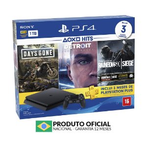Console PlayStation 4 Slim 1TB + 3 Jogos + 3 Meses Playstation Plus - Sony