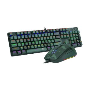 Kit Teclado Mecânico e Mouse Gamer Redragon S108 Dark Green Rainbow Switch Blue PT com fio