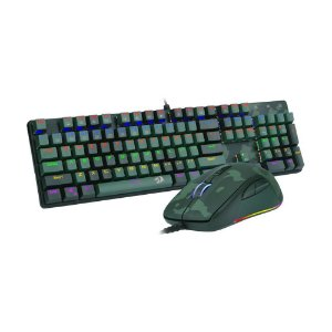 Kit Teclado Mecânico e Mouse Gamer Redragon S108 Light Green Rainbow Switch Blue PT com fio
