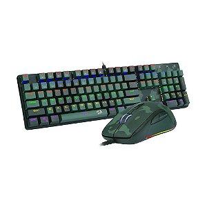 Kit Teclado Mecânico e Mouse Gamer Redragon S108 Light Green Rainbow Switch Blue PT com fio