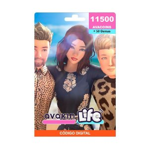 Cartão Presente Avakin Life 11500 Avacoins + 50 Gemas