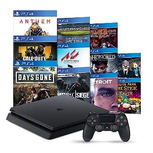 Console PlayStation 4 Slim 1TB + 11 Jogos + 3 Meses Playstation Plus - Sony