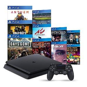 Console PlayStation 4 Slim 1TB + 10 Jogos + 3 Meses Playstation Plus - Sony