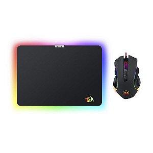 Kit Mouse e Mousepad Gamer Redragon M602-BA RGB 7200dpi Speed Rígido com fio