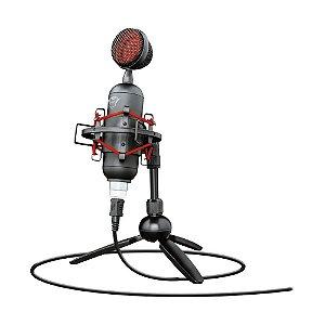 Microfone Condensador USB Trust Buzz GXT 244 Preto e Vermelho - PS4, PC e Mac
