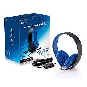 Headset Sony 7.1 Stereo Silver com fio - PS3, PS4, Pc e PS Vita