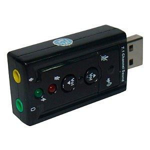 Adaptador Placa de Som Usb 7.1 para Entrada P2 Fone Microfone - PS3