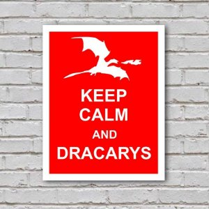 Placa de Parede Decorativa: Keep Calm and Dracarys - ShopB