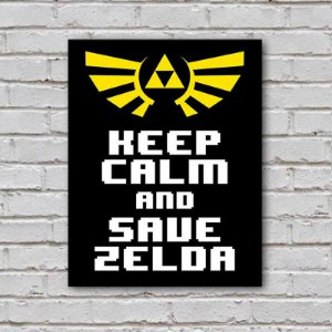 Placa de Parede Decorativa: Keep Calm and Save Zelda - ShopB