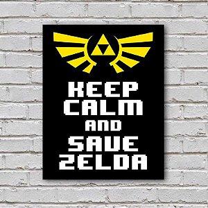 Placa de Parede Decorativa: Keep Calm and Save Zelda - ShopB