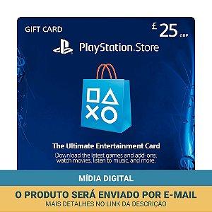 Cartão Presente £25 (libras) PSN Reino Unido - Sony