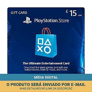 Cartão Presente £15 (libras) PSN Reino Unido - Sony