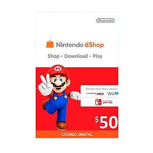 Cartão Presente $50 (dólares) eShop - Nintendo