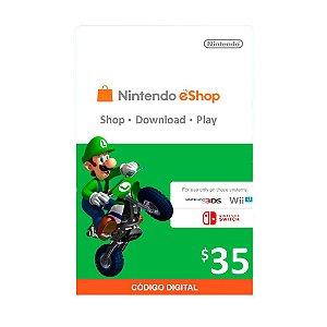 Cartão Presente $35 (dólares) eShop - Nintendo