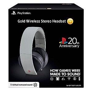 Headset Sony Gold Stereo (Edição de aniversário 20 Anos) sem fio - PS3, PS4 e PS Vita