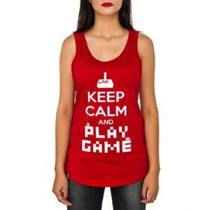 Regata Feminina ShopB Keep Calm and Play Game - Modelo 1
