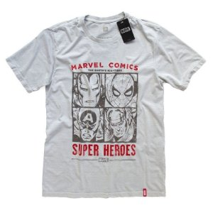 Camiseta Studio Geek Comics Rostos Marvel - Modelo 1