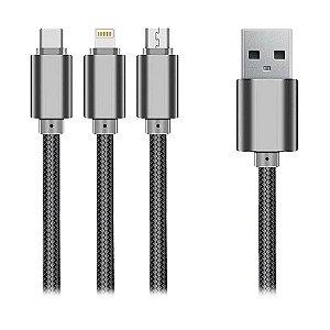 Cabo 3 em 1 Lightning Micro USB USB-C Geonav