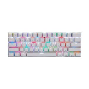 Teclado Mecânico Gamer Motospeed CK62 Branco RGB Switch Red US USB e Bluetooth