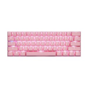 Teclado Mecânico Gamer Motospeed CK62 Rosa RGB Switch Red US USB e Bluetooth