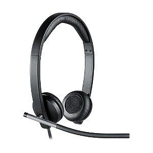 Headset Logitech H650e Preto com fio - PC