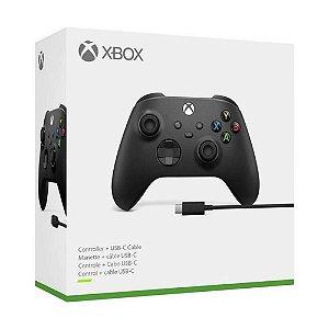 Controle sem fio Xbox + cabo USB - Series X, S, One, PC - Preto