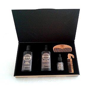 Kit Beard Case 1972 Fuel4Men-Estojo para cuidados com a barba, Shampoo, Balm, Óleo e Pente