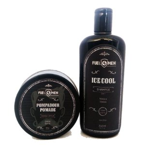 Kit Shampoo Ice Cool e pomada para cabelo Pompadour Fuel4Men