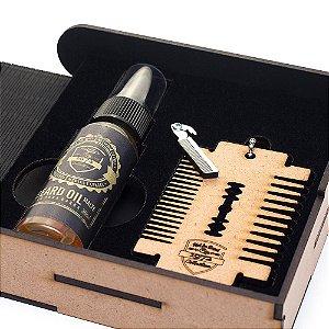 Kit Box Óleo para barba e Pente estilo Gilette Fuel4men
