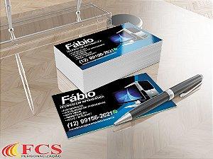 Cartão de Visita - 48x88mm Couchê - 250g - 4x0 Verniz Total Frente