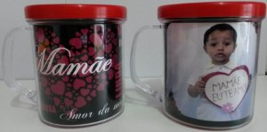 Caneca Rosqueavel Personalizada com Foto Dia das Mães