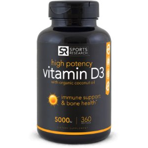 Vitamina D3 5,000iu Sports Research - 360 softgels