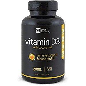 Vitamina D3 2000iu 360 softgels - Sports Research