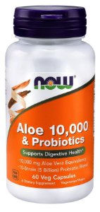 Aloe 10,000 & Probioticos NOW  60 Veg Caps