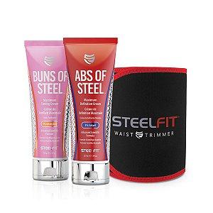 Kit Steel Fit -Buns of Steel, Abs of Steel e Cinta Neoprene Steel Fit