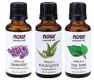 Kit com 3 Óleos Essenciais NOW - Tea Tree  - Eucalyptus- Lavander