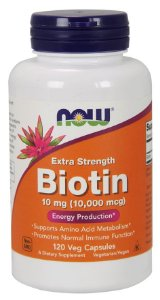 Biotin 10,000 mcg Extra Strength 120  Veg Capsules Now