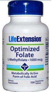 Optimized Folate Life Extension 1.000 mcg, 100 Veggie Tabs