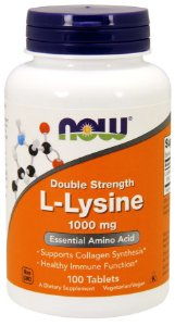 L-Lysine, Double Strength 1000 mg   NOW  100 Tablets