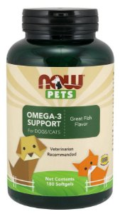 Omega-3 Support  para cães e gatos NOW PETS 180 Softgels