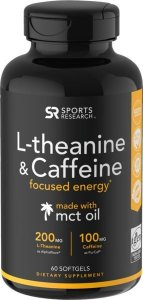 L Theanine & Caffeine, 60 Softgels SPORTS RESEARCH