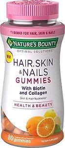 Hair, Skin & Nails com biotina e colágeno NATURES BOUNTY 80 gummies Tropical Cítrus
