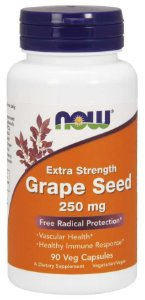 Grape Seed semente de uva Extra Strength 250 mg NOW 90 Veg Capsules