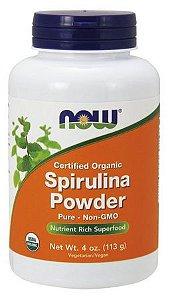 Spirulina Powder Organic em pó 4oz 113 g NOW Foods