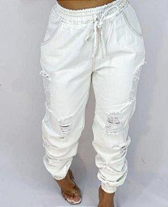 Calça jogger Jeans - branca
