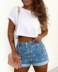 Short Jeans Mom - Poá