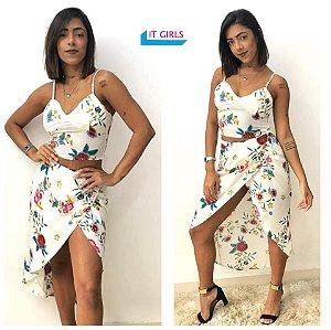 Saia transpassada + cropped - Flor