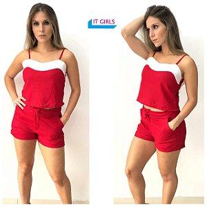 Conjunto regata + shorts de linho