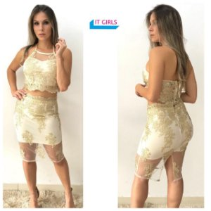Conjunto Saia + Cropped - Golden